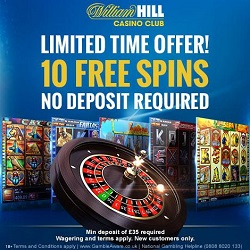 10 No Deposit Spins At William Hill Casino Club